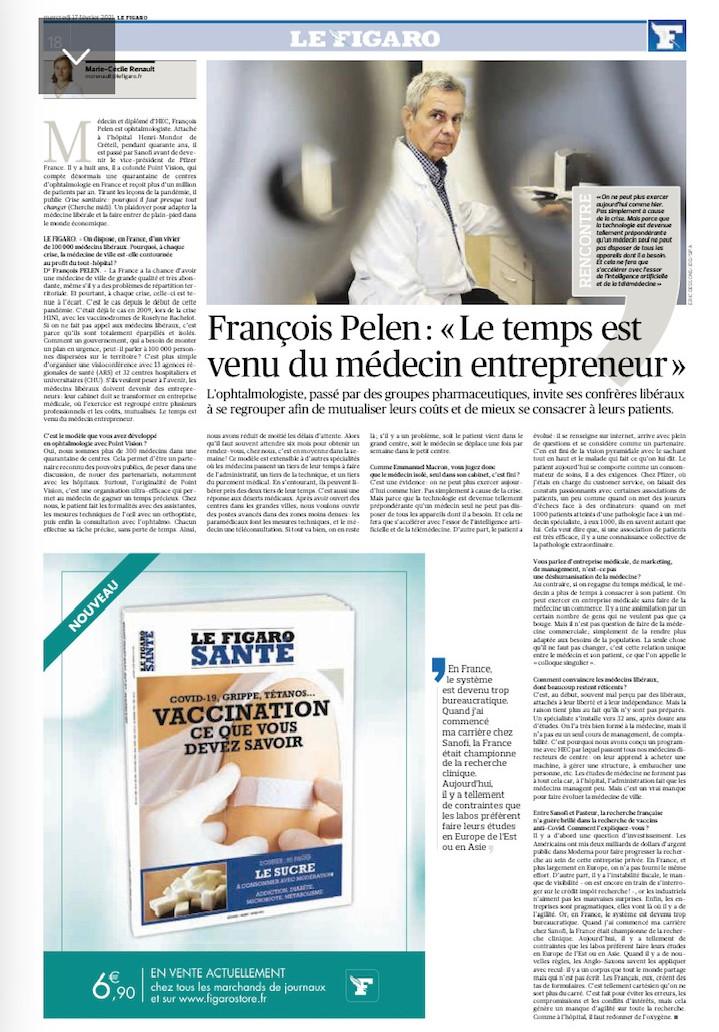 2021.02 - Le Figaro - François Pelen - Le temps est venu du médecin entrepreneur